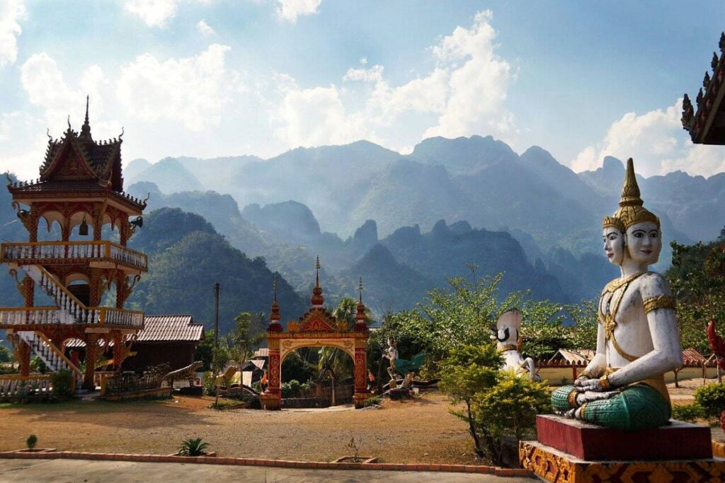 Laos Filming Locations at Laos temple mountains in Vang Vieng