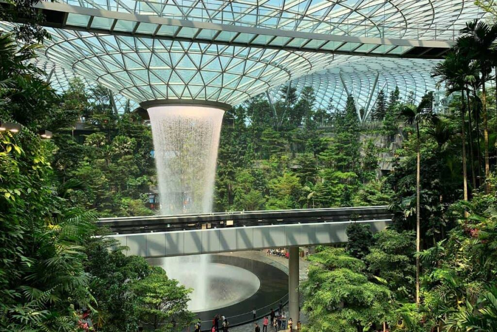 Singapore Filming Locations Settings at Cloud Forest Indoor waterfalls