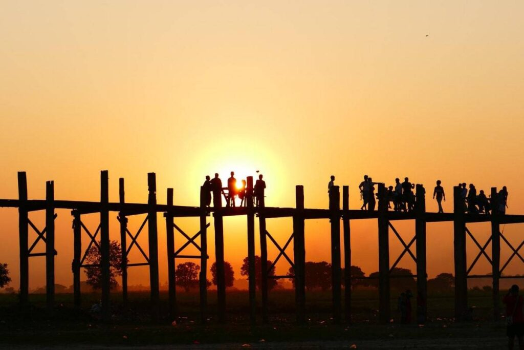 Myanmar Film and Television Production Location at U Bein Bridge,