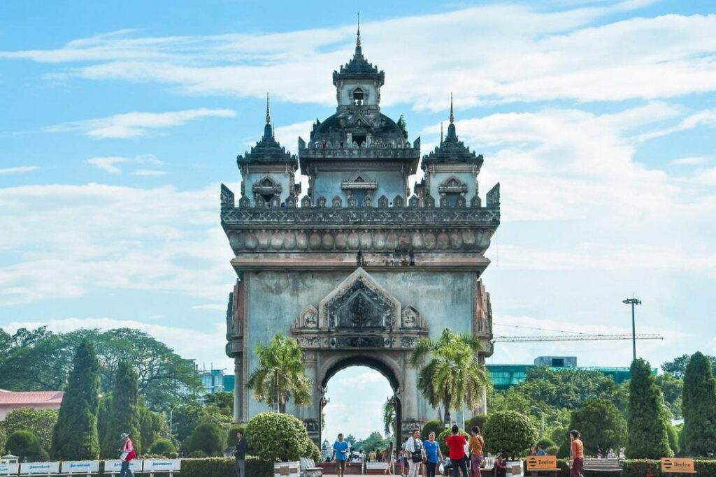 Laos Video Production Locations   set up at Vientiane City Triumphal Arch